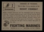 1953 Topps Fighting Marines #7   Night Combat Back Thumbnail
