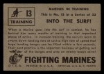 1953 Topps Fighting Marines #13   Into The Surf Back Thumbnail