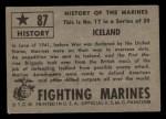 1953 Topps Fighting Marines #87   Iceland Back Thumbnail