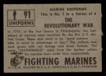 1953 Topps Fighting Marines #91   The Revolutionary War Back Thumbnail
