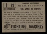 1953 Topps Fighting Marines #92   The War In Tripoli Back Thumbnail
