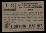 1953 Topps Fighting Marines #95   Spanish American War Back Thumbnail
