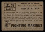 1953 Topps Fighting Marines #33   Rescue At Sea Back Thumbnail