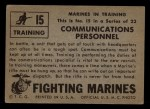 1953 Topps Fighting Marines #15   Communications Personnel Back Thumbnail