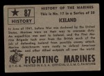 1953 Topps Fighting Marines #87   Iceland Back Thumbnail