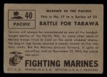 1953 Topps Fighting Marines #40   Battle For Tarawa Back Thumbnail