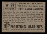 1953 Topps Fighting Marines #79   First Marine Aviation Back Thumbnail
