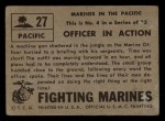 1953 Topps Fighting Marines #27   Officer In Action Back Thumbnail