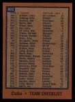 1978 Topps #302   Cubs Team Checklist Back Thumbnail