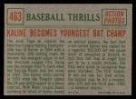 1959 Topps #463   -  Al Kaline Kaline Becomes Youngest Bat Champ Back Thumbnail