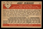 1953 Bowman B&W #7  Andy Seminick  Back Thumbnail