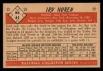 1953 Bowman B&W #45  Irv Noren  Back Thumbnail