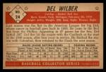 1953 Bowman B&W #24  Del Wilber  Back Thumbnail