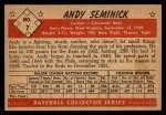 1953 Bowman Black and White #7  Andy Seminick  Back Thumbnail