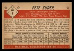 1953 Bowman Black and White #8  Pete Suder  Back Thumbnail