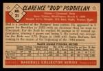 1953 Bowman Black and White #21  Clarence 'Bud' Podbielan  Back Thumbnail