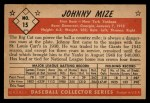 1953 Bowman Black and White #15  Johnny Mize  Back Thumbnail
