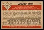 1953 Bowman B&W #15  Johnny Mize  Back Thumbnail