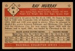 1953 Bowman Black and White #6  Ray Murray  Back Thumbnail
