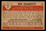 1953 Bowman Black and White #41  Bob Ramazotti  Back Thumbnail