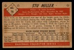 1953 Bowman Black and White #16  Stu Miller  Back Thumbnail