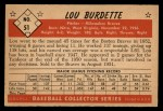 1953 Bowman Black and White #51  Lew Burdette  Back Thumbnail