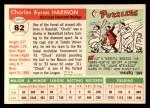 1955 Topps #82  Chuck Harmon  Back Thumbnail