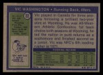 1972 Topps #22  Vic Washington  Back Thumbnail