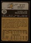 1973 Topps #322  Garry Maddox  Back Thumbnail