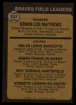 1973 Topps #237 ORG  -  Eddie Mathews / Lew Burdette / Jim Busby / Roy Hartsfield / Ken Silvestri Braves Leaders Back Thumbnail