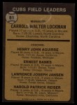 1973 Topps #81 NAT  -  Whitey Lockman / Hank Aguirre / Ernie Banks / Larry Jansen / Pete Resier Cubs Leaders Back Thumbnail