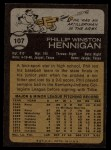 1973 Topps #107  Phil Hennigan  Back Thumbnail