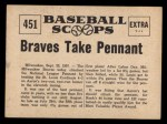 1961 Nu-Card Scoops #451   Take Pennant   Back Thumbnail