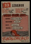 1956 Topps Flags of the World #33   Lebanon Back Thumbnail