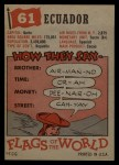 1956 Topps Flags of the World #61   Ecuador Back Thumbnail