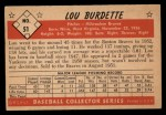 1953 Bowman Black and White #51  Lew Burdette  Back Thumbnail
