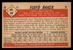 1953 Bowman Black and White #49  Floyd Baker  Back Thumbnail