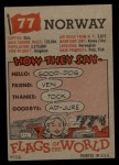 1956 Topps Flags of the World #77   Norway Back Thumbnail