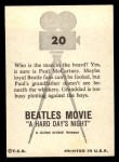 1964 Topps Beatles Movie #20   Man In The Beard Back Thumbnail