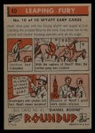 1956 Topps Round Up #40   -  Wyatt Earp Leaping Fury Back Thumbnail