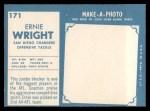 1961 Topps #171  Ernie Wright  Back Thumbnail