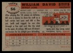 1956 Topps #56  Bill Stits  Back Thumbnail