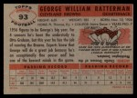 1956 Topps #93  George Ratterman  Back Thumbnail