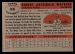 1956 Topps #95  Bobby Watkins  Back Thumbnail