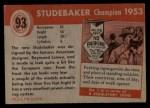 1954 Topps World on Wheels #93   Studebaker Champion 1953 Back Thumbnail