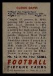 1951 Bowman #42  Glenn Davis  Back Thumbnail