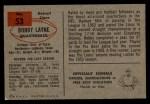 1954 Bowman #53  Bobby Layne  Back Thumbnail