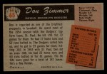 1955 Bowman #65  Don Zimmer  Back Thumbnail