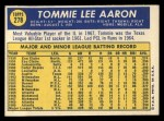 1970 Topps #278  Tommie Aaron  Back Thumbnail