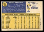 1970 Topps #180  Tommy John  Back Thumbnail